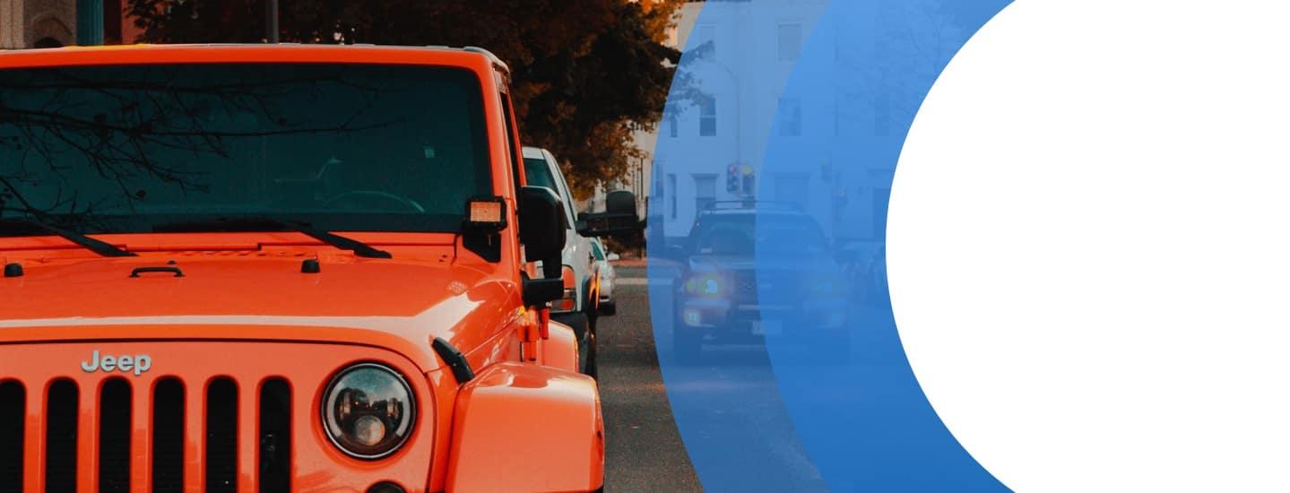 Orange Jeep Parked