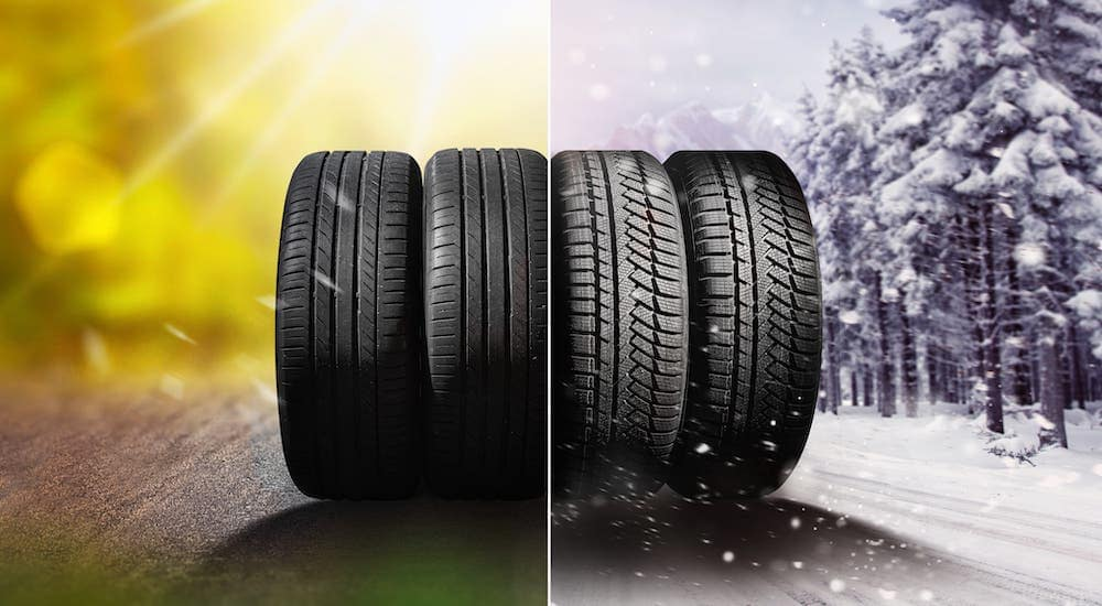 Four tires are shown with the left two having a summer background and the right two having a winter background.
