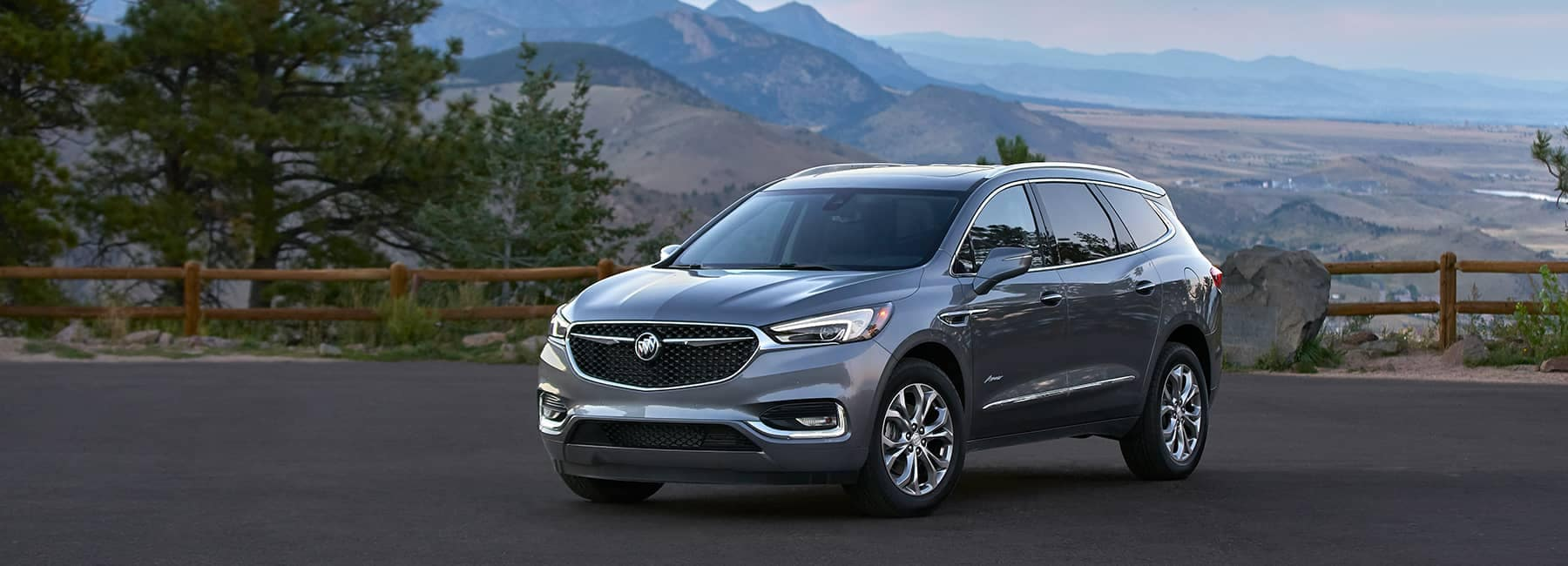 Grey 2020 Buick Enclave on a Mountain Overpass