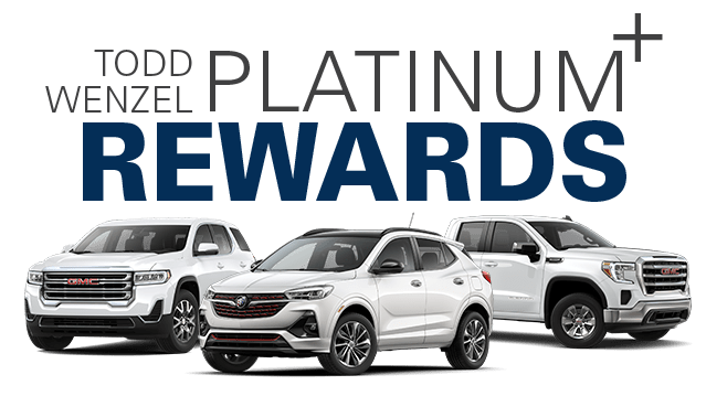 Platium Rewards Banner - white Buick and GMC vehicles in front of text