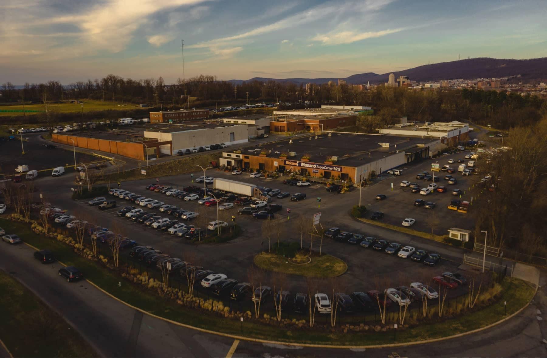 Aerial shot of Tom Masano Auto Park