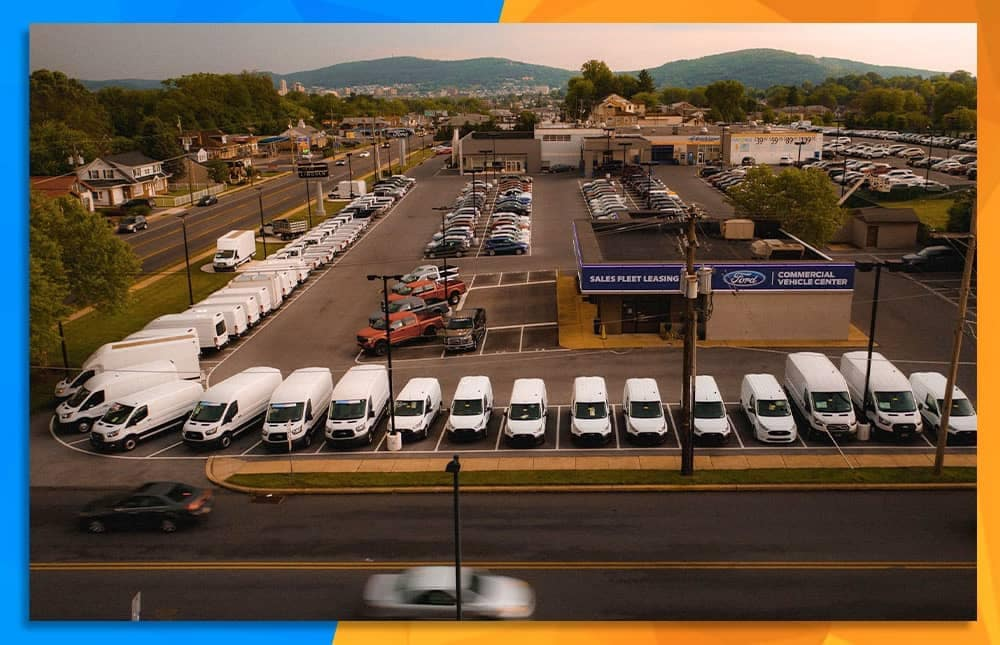Aerial Shot of the lot at Tom Masano Ford