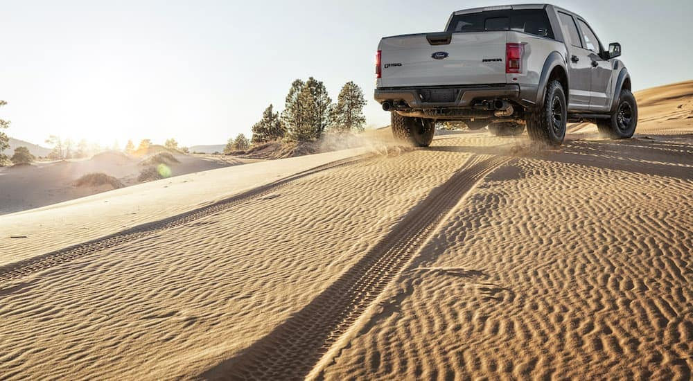 A silver 2017 Ford F-150 Raptor is shown from the rear making a trail in the sand after leaving a Ford F-150 dealer.