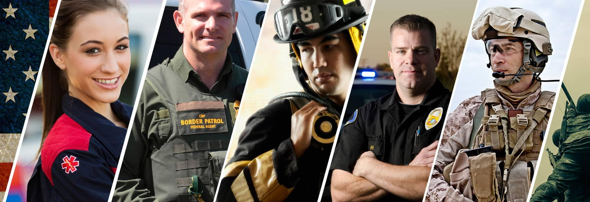 Photo collage of first responders in uniform