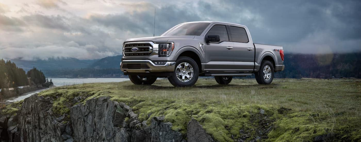 A popular vehicle at your used Ford truck dealership, a silver 2021 Ford F-150, is shown parked on the grass next to a lake.
