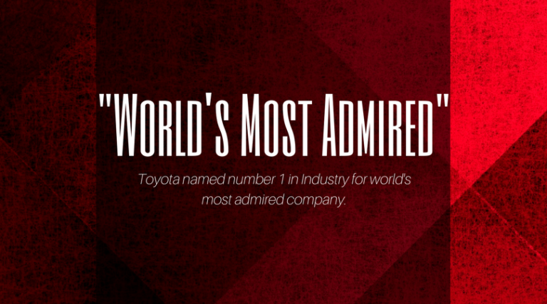 "Toyota crowned No. 1 in Industry for ""World's Most Admired Company"""