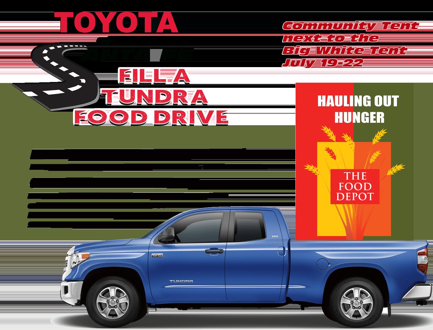Fill A Tundra Food Drive July 19-22 at Parking Lots of Santa Fe Place Mall