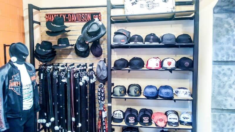 display of Harley Davidson hats