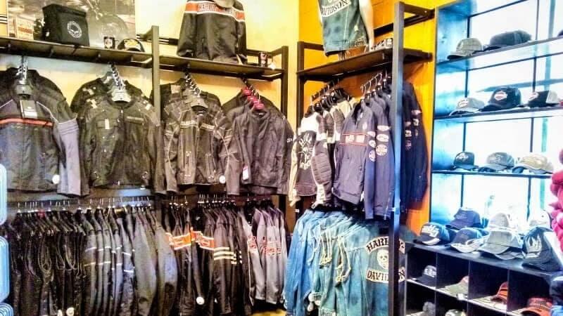 display of Harley Davidson jackets