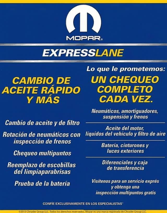 Servicio Expreso MOPAR - mopar-express-lane