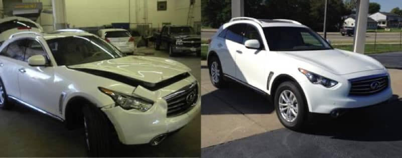 Uftring Body Shop Image - before and after of an SUV repair
