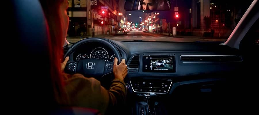 driver in city at night