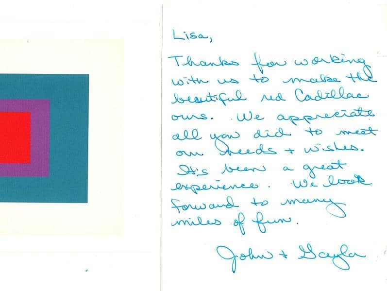 John & Gayla's thank you note
