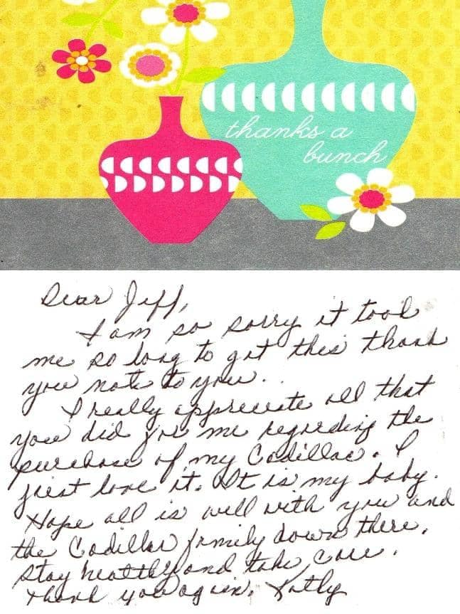 Kathy's note to Jeff