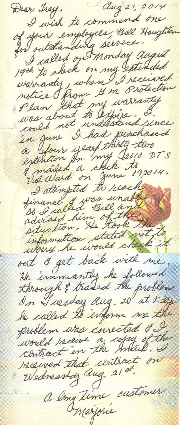 Marjorie's thank you note
