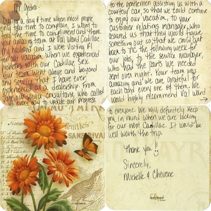 Michelle & Chevene's thank you note