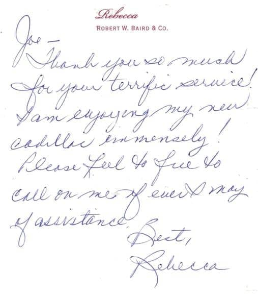 Rebecca's thank you note