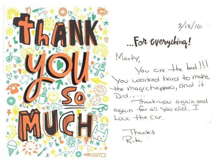 Rita's thank you note