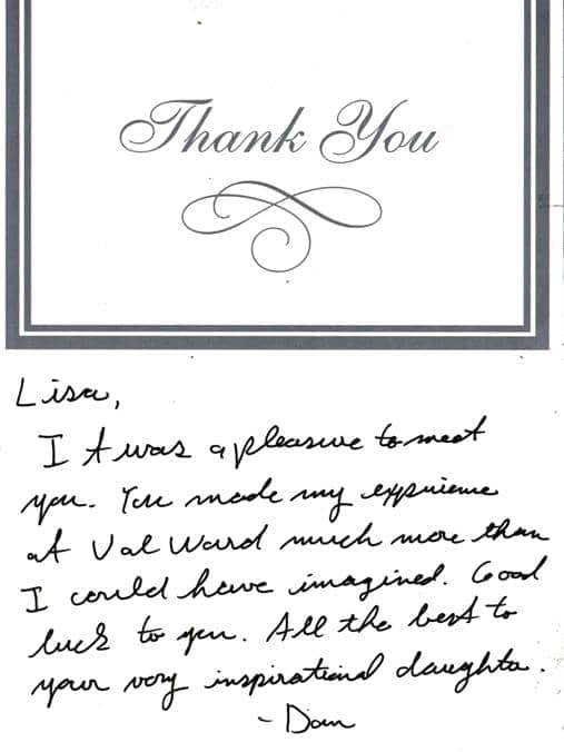 Thank you from Dan to Lisa