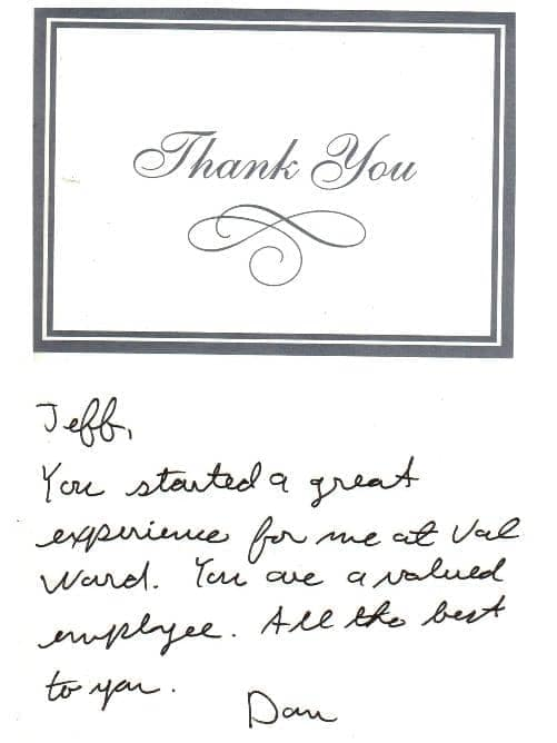 Thank you card from Dan