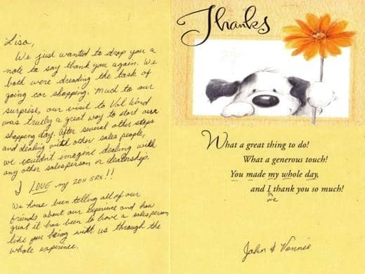 Thank you card from John & Vonnie