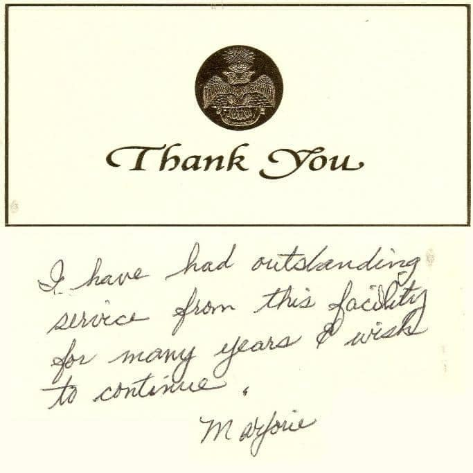 Thank you card from Marjorie