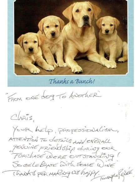 Thank you card from Tommy & Renee