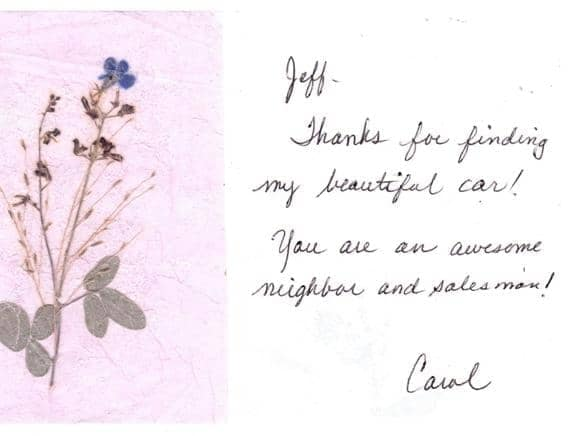 Thank you note from Carol