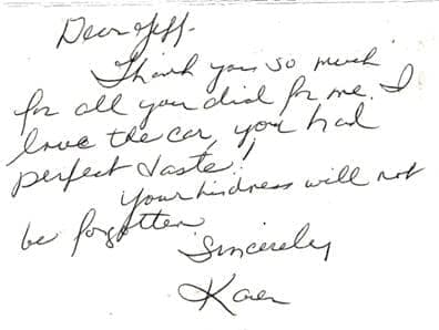 Thank you note from Karen to Jeff