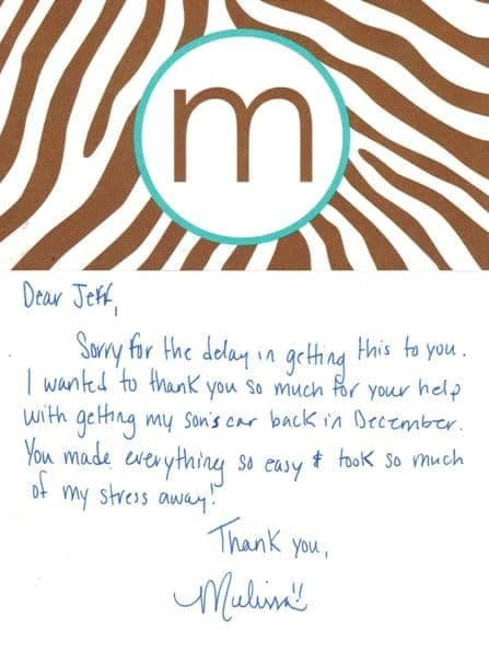 Thank you note from Melissa