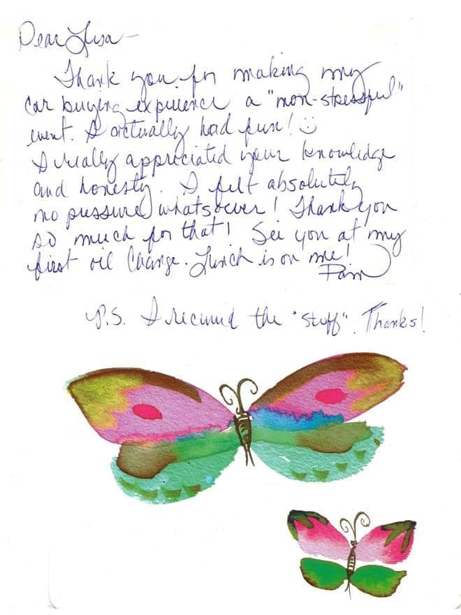 Thank you note from Pam