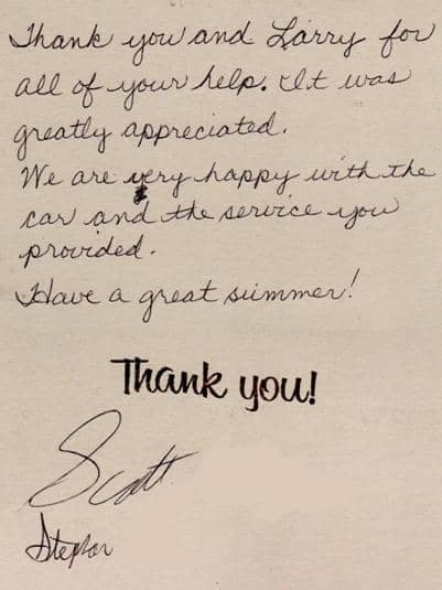 Thank you note from Scott
