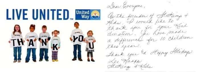 Thank you note from United Way