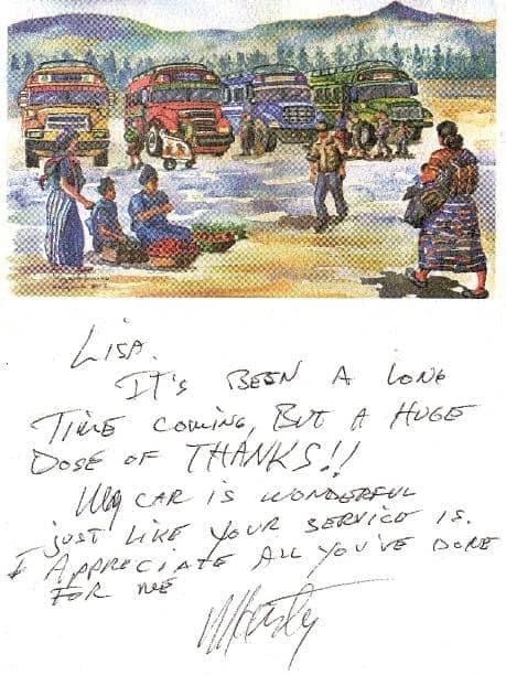 Thank you note to Lisa