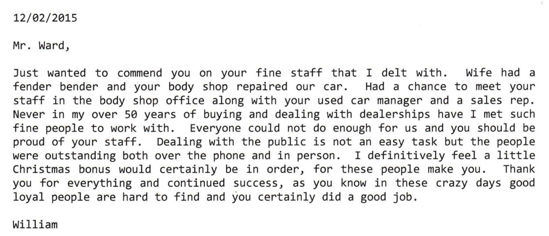 William's note to Mr Ward