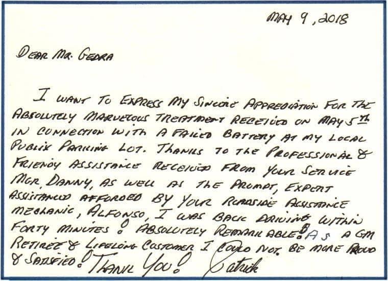 handwritten note by Patrick