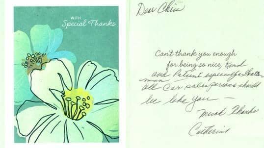 handwritten note from Catherine