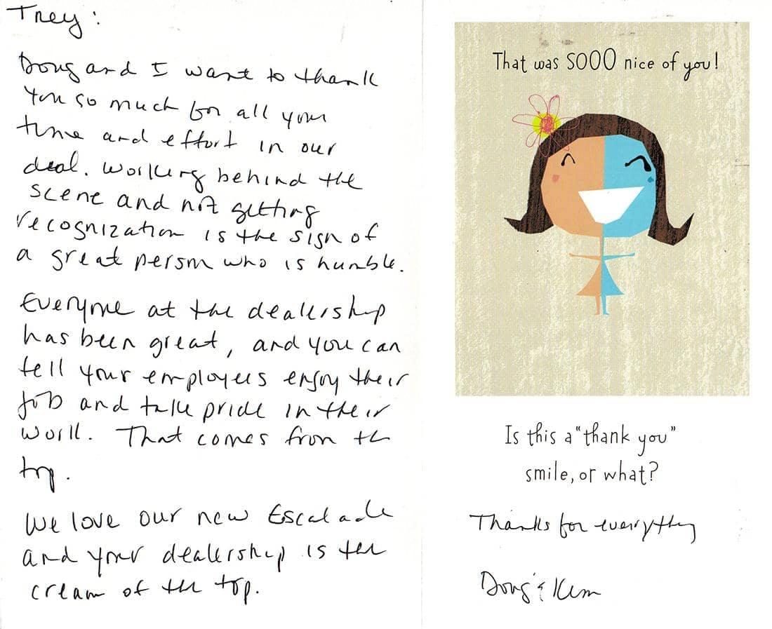 handwritten note from Doug & Kim