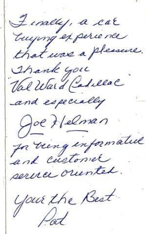 handwritten note from Pat