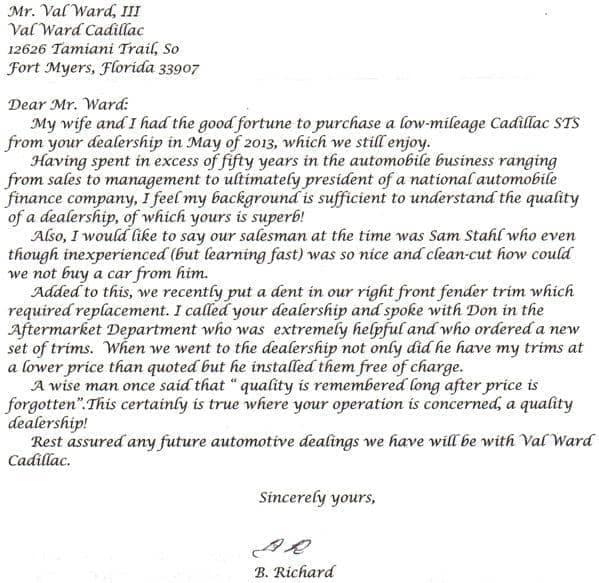 letter from B Richard