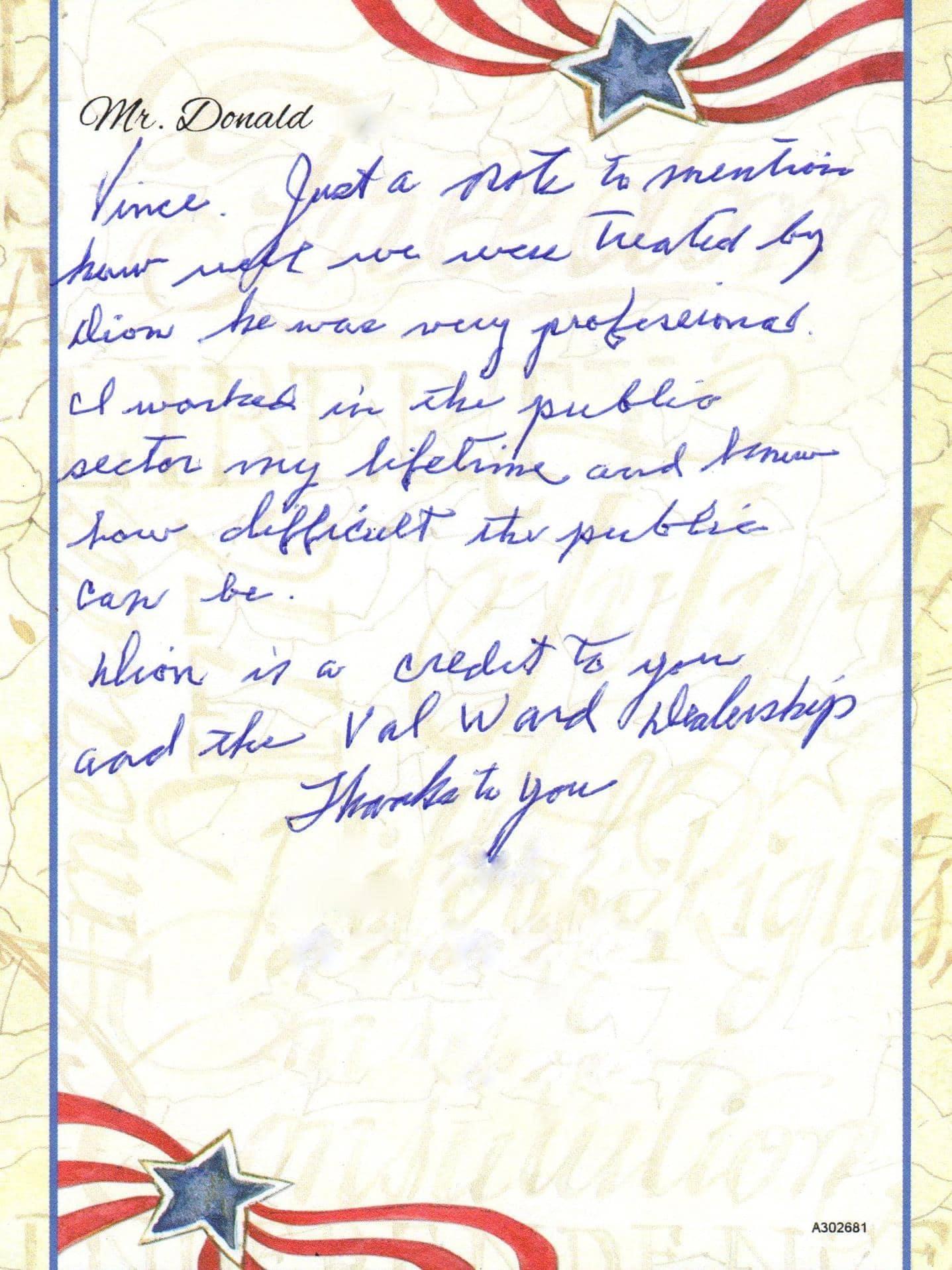 handwritten note on patriot notepaper
