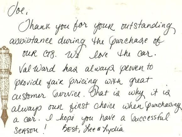thank you note from Lee & Lydia