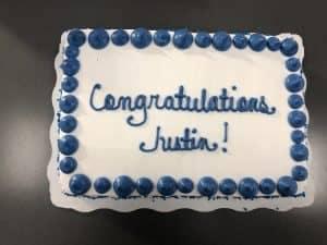 congrats Justin cake