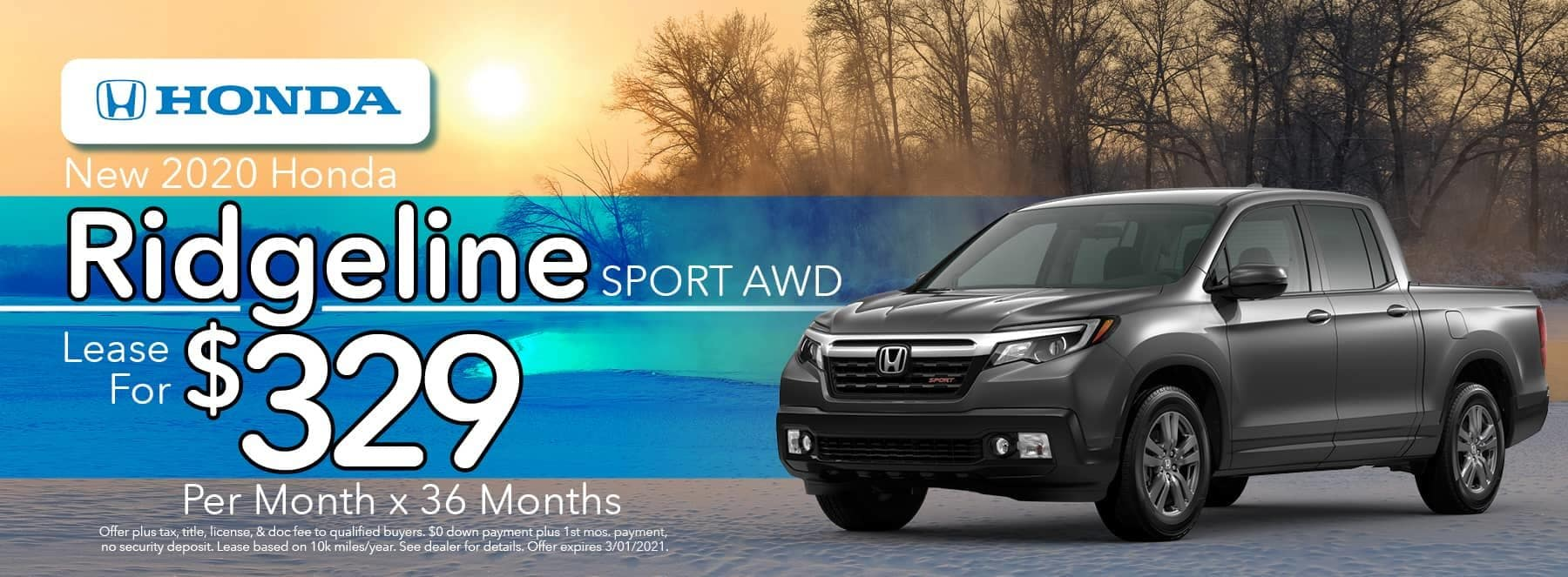 New 2020 Honda Ridgeline Sport AWD - Lease for $329 per Month for 36 Months