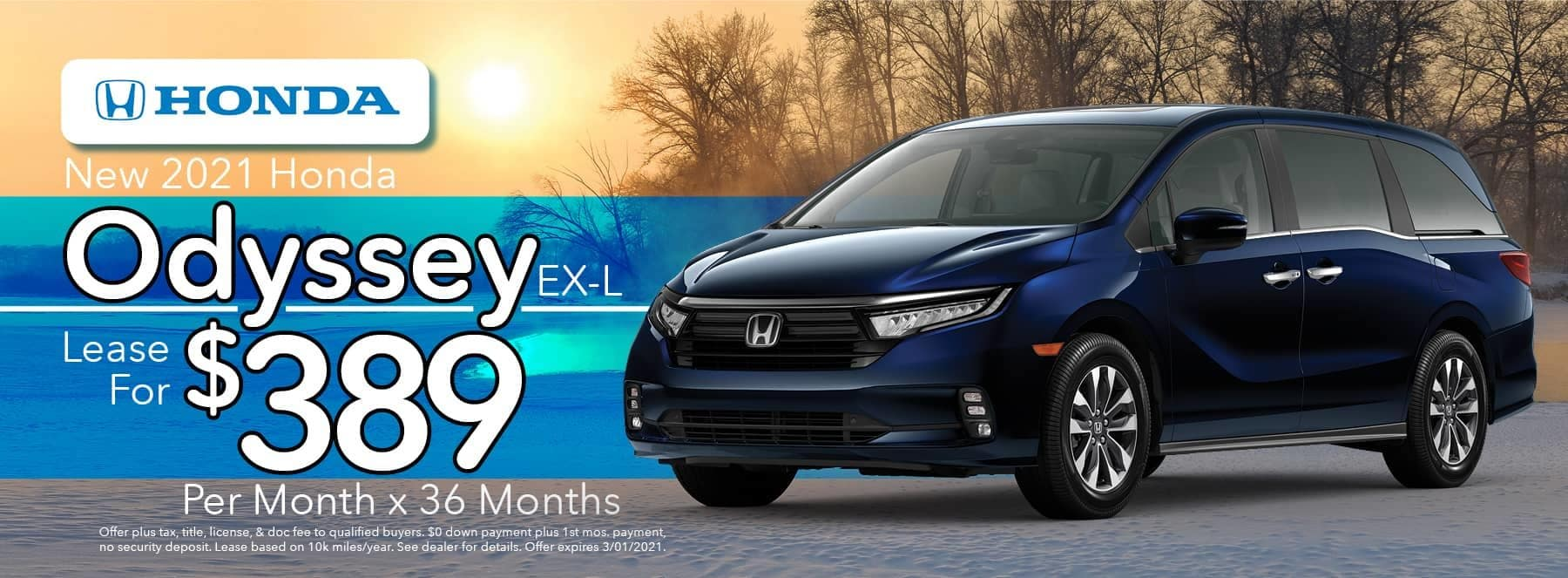 New 2020 Honda Odyssey EX-L - Lease for $389 per Month for 36 Months