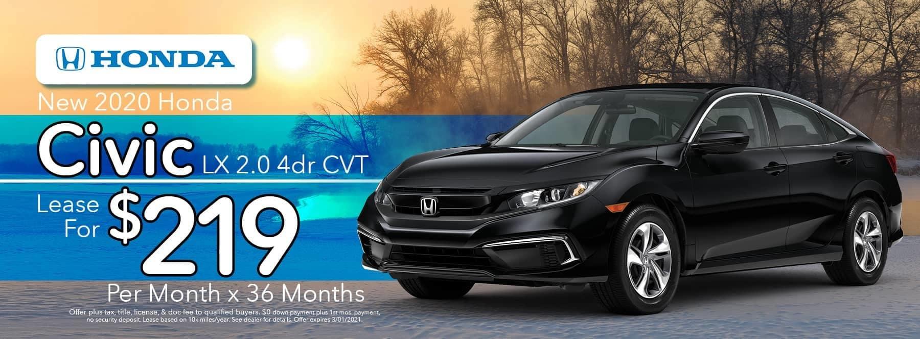Vans Honda Specials - 2020 Civic - Lease for $219 per month-36months