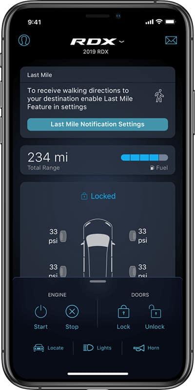 AcuraLink App RDX Smartphone Screen