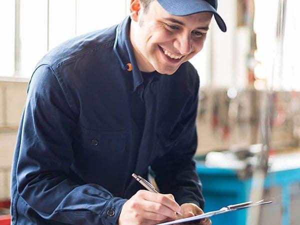 Mechanic doing an inspection
