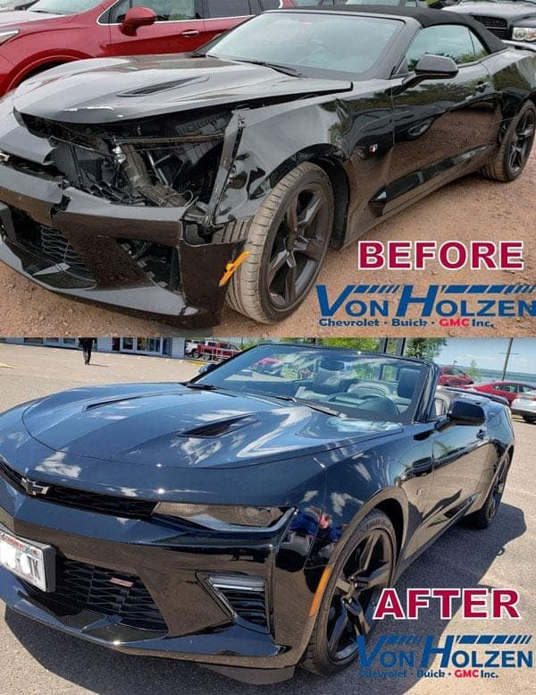 Before and after photo of body work done on a car