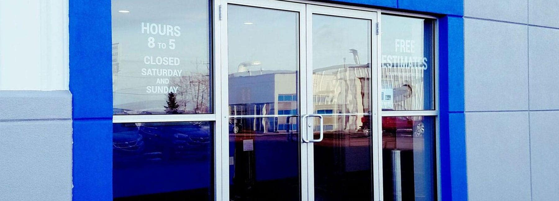 The front door of the collision center